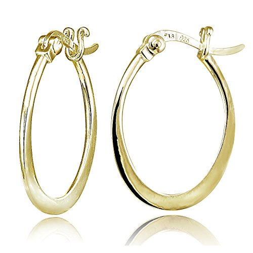 (Hoops & Loops Yellow Gold Flash Sterling Silver Flat Oval Hoop Earrings)