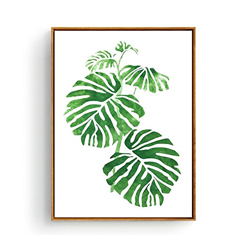 Hepix Tropical Monstera Leaves Modern Canvas Art with Wooden Frame, 13 x 17 (Tropical Art Paintings)