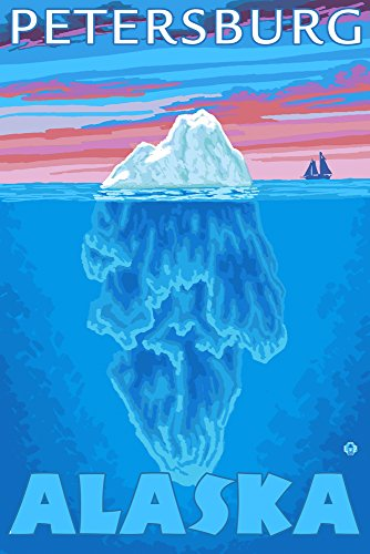 Iceberg Cross-Section - Petersburg, Alaska (12x18 SIGNED Print Master Art Print w/ Certificate of Authenticity - Wall Decor Travel Poster)