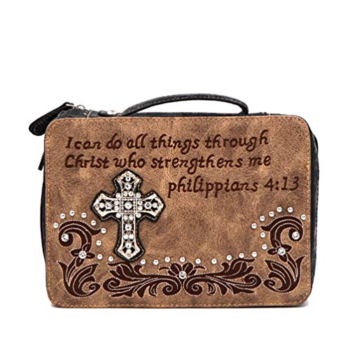 Bible Cover Western Bible Book Case Messenger Bag Scripture Verse Embroidery Rhinestone Cross Philippians 4:13 Beige