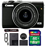 Canon EOS M100 Mirrorless Digital Camera with 15-45mm Lens (Black) + 8GB Memory Card