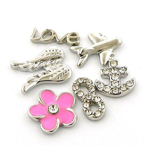 Jewelry Adviser Locket Set of Six (6) Love Theme Flower Love Airplane Angel Wings Anchor Infinity Floating Charms for Floating Charms Locket (Airplane Floating Locket Charm)