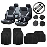 89 s10 blazer seats - CCIYU Black/Gray Seat Cover W/Belt Pads/Steering Wheel Cover Full Set Black Floor Mats Breathable fit Heavy Duty Van Trucks
