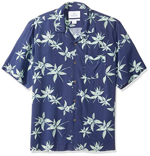28 Palms Men's Relaxed-Fit Vintage Washed 100% Rayon Tropical Hawaiian Shirt, Navy/Light Green Floral, X-Large