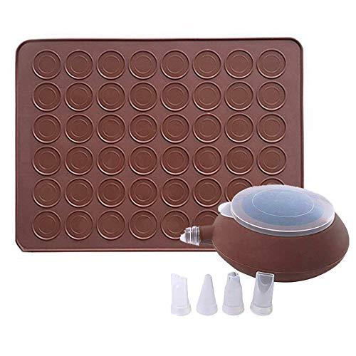 GARCENT Macaron Silicone Mat, Non-Stick Silicone Macaron Baking Mold Set, 48 Capacity Macaroon Kit with Cake Decorating Supplies]()