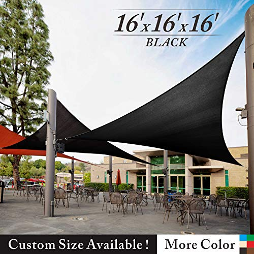 Royal Shade 16' x 16' x 16' Black Triangle Sun Shade Sail Canopy Outdoor Patio Fabric Shelter Cloth Screen Awning - 95% UV Protection, 200 GSM, Heavy Duty, 5 Years Warranty, We Make Custom Size (Sunshades Patios For)