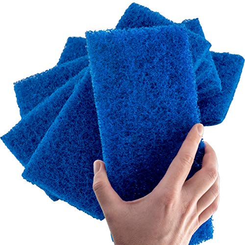 Medium Duty XL Blue Scouring Pad 5 Pack. 10 x 4.5in Large Multipurpose Nylon Scrubbing Sponges. Clean Kitchens, Bathrooms, Counters and Floors to Erase Grime and Make Surfaces -