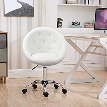 Duhome Home Office Chair Task Computer Chair with Wheels Swivel Height Adjustable Working Stool White