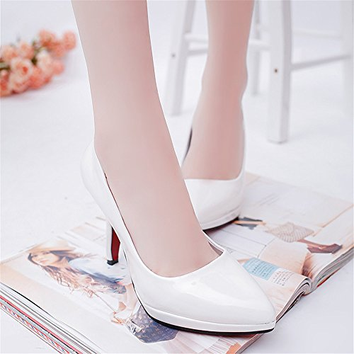 LIVY atractiva 2017 de primavera y verano de las mujeres señaló 10cm se inclinan los zapatos altos modelos de explosión a prueba de agua Blanco