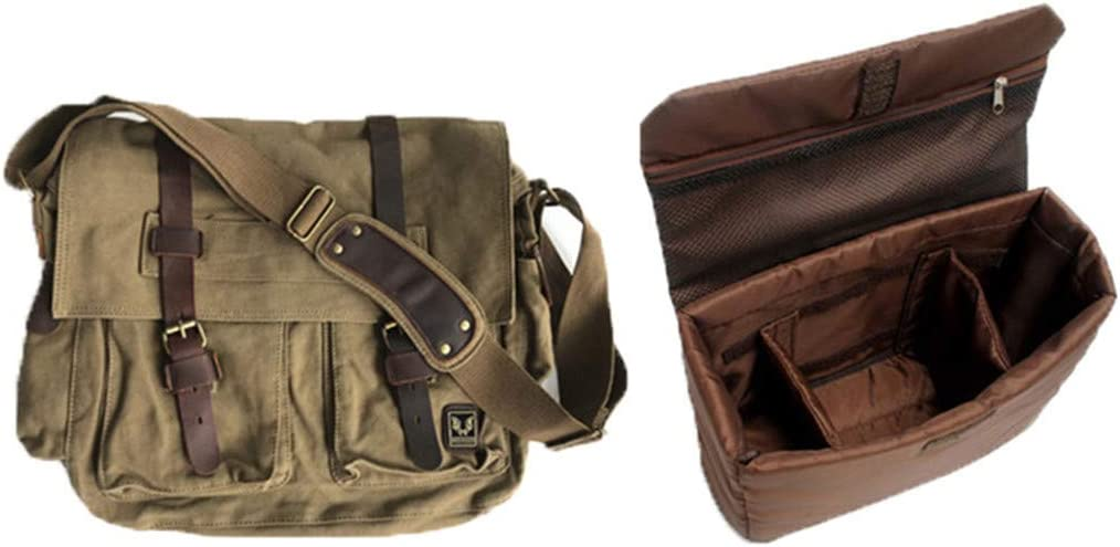 Canvas Leather Men Messenger Bags Big Satchel Shoulder Bags Laptop Briefcase Travel Handbag 14Inch Khaki Upgrade
