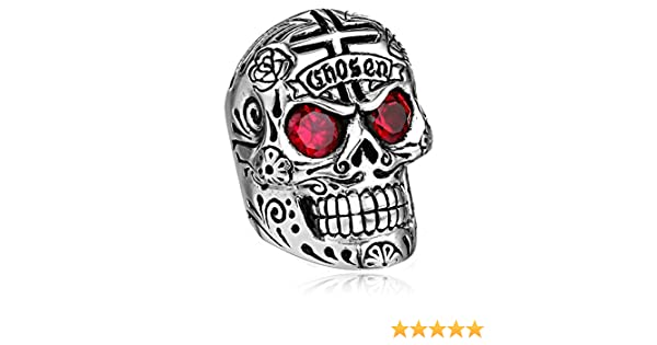 dcd62333f0096 King Baby Men's Large Skull Ring with Chosen Cross Detail and Garnet ...