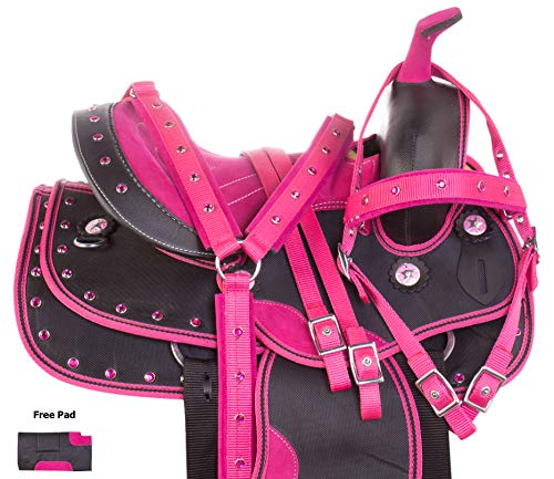 "AceRugs Kids Quarter Horse OR Pony Saddle Set Western Trail Show Pink Crystal Barrel Racing Synthetic TACK Set Bridle Breastplate PAD (Pink Fuchsia, 13"" Quarter Horse)"