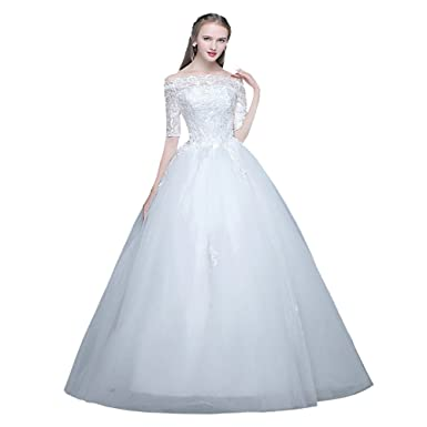 White Wedding Dress Plus Size Bride Gown Lace Off Shoulder Half ...