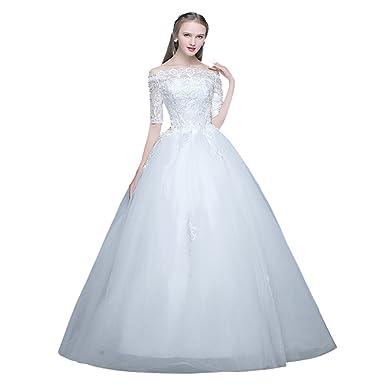 White Wedding Dress Plus Size Bride Gown Lace Off Shoulder Half