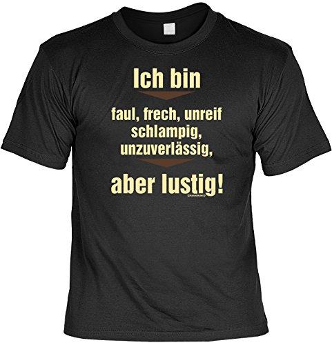 T-Shirt - Ich bin faul - aber lustig - Geschenk Set Funshirt und Mini Shirt für Leute mit Humor