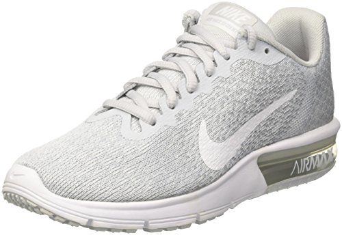 NIKE Womens Air max Sequent 2 Low Top Lace Up Running Sneaker, Silver, Size 10.0 by NIKE