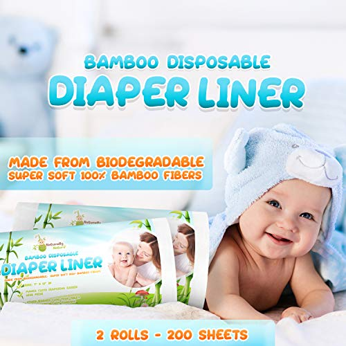 Naturally Natures Bamboo Disposable Diaper Liners (2PK) 200 Sheets Gentle and Soft, Chlorine and Dye-Free, Unscented, Biodegradable Inserts (Set of 2) 200 Liners