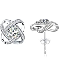 925 Sterling Silver High Polished Round Cut 6 Prong/Accent Knot/Small Stud Earrings/Triple Heart Fashion Drop Pendant Necklace