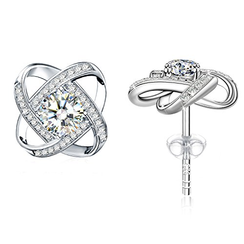 Earrings, 925 Sterling Silver 3A Cubic Zirconia Stud Earrrings J.Rosée Fine Jewelry for Women