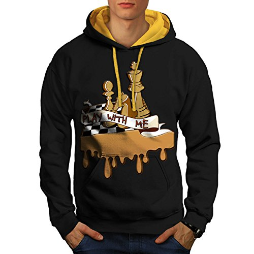 d5f79380e Play Chess With Me Game Board Men NEW S-2XL Contrast Hoodie ...