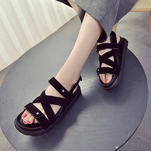 RUGAI sandalias punta UE hueca gruesa mujer con estilo veraniego y Sandalias de punta black YY4rq