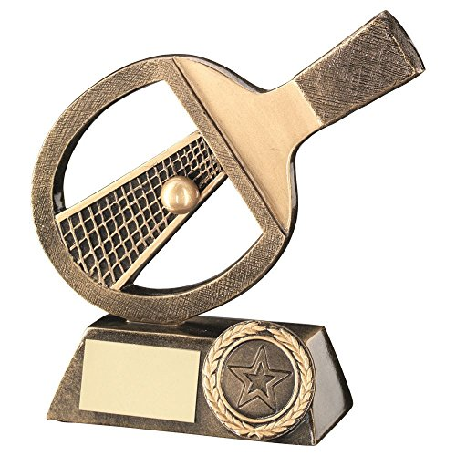 Lapal Dimension BRZ/GOLD TABLE TENNIS BAT/NET/BALL TROPHY - (1in CENTRE) 5in