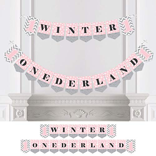 Pink Onederland - Holiday Snowflake Winter Wonderland Birthday Party Bunting Banner - Party Decorations - Winter Onederland for $<!--$19.99-->