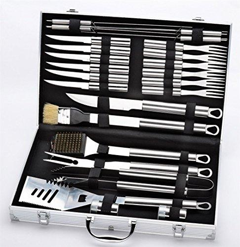 Holzsammlung® 24 teilig Edelstahl Grillbesteck Barbeque im Aluminium-Koffer