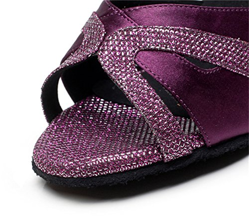 JSHOE Sexy Salsa Jazz Dance Chaussures Ballroom Latin Tango Party Danse Chaussures Talons Hauts,Purple-heeled7.5cm-UK5/EU37/Our38
