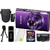 CanonPowerShot ELPH 360 HS 20.2MP 12x Zoom Full-HD 1080p Wi-Fi Digital Camera (Purple) + 32GB Card + Reader + Case + Accessory Bundle