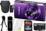 Cheap CanonPowerShot ELPH 360 HS 20.2MP 12x Zoom Full-HD 1080p Wi-Fi Digital Camera (Purple) + 32GB Card + Reader + Case + Accessory Bundle