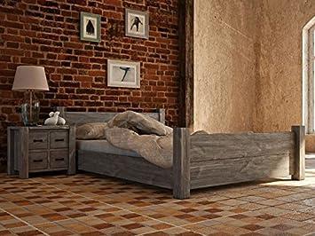 Somier de madera rústica{34} gris - Dimensiones: 180 x 200 cm ...