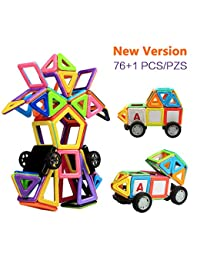 Magnetic Building Blocks, Innoo Tech Magnet Building Tiles Plus Kits, 76+1 Pieces, ABS Safety Plastic, Instruction Booklet Included, Creative and Educational Gift for Kids BOBEBE Online Baby Store From New York to Miami and Los Angeles