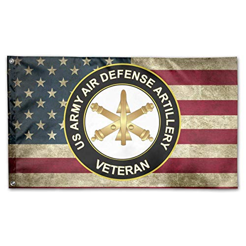 WINDST Personalized US Army Veteran Air Defense Artillery Logo Garden Flag 3x5 ft Outdoor Garden Decorative Banner Black -