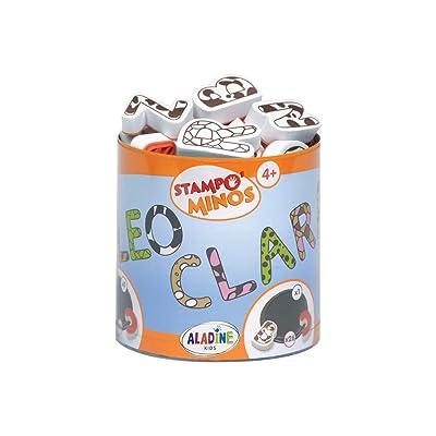 Aladine 85111 Stampominos Alphabets - Lote de Sellos de Madera y tampón para Decorar, diseño de Letras: Juguetes y juegos