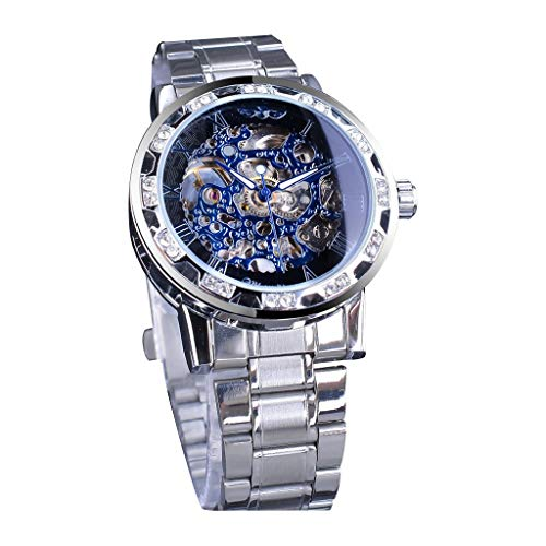 LUCAMORE Men's Automatic Analog Watch Fashion Skeleton Tourbillon Waterproof Stainless Steel Band Mechanical Watch
