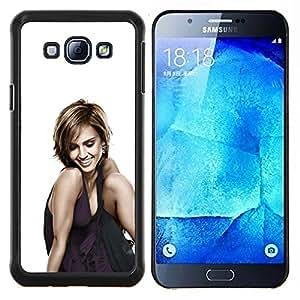 Mujer Sonriente- Metal de aluminio y de plástico duro Caja del teléfono - Negro - Samsung Galaxy A8 / SM-A800