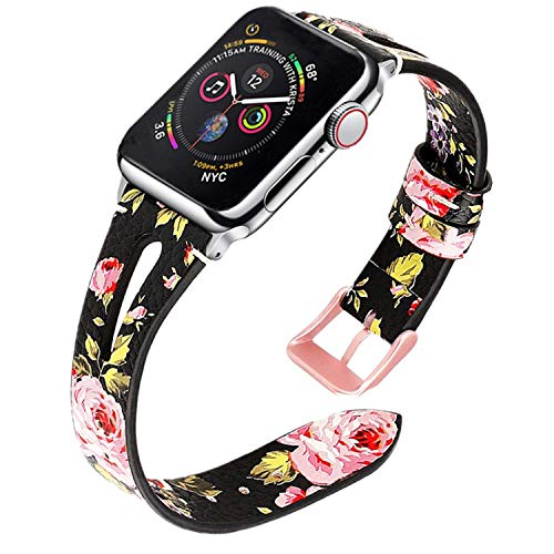 TUJUIO Leather Bands Compatible Apple Watch,38mm/40mm 42mm/44mm Slim Strap with Breathable Hole Replacement Wristband for iWatch Series 4/3/2/1 Nike+ Edition (Black/Pink Floral, 38mm/40mm)