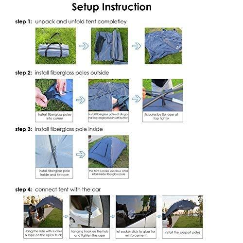 EGECL Car Tent - Folding Sunshade Carports - Anti-UV Roof Top Tent - Car Sun Shelter Awning - Hiking, Climbing, Fishing by EGECL (Image #4)