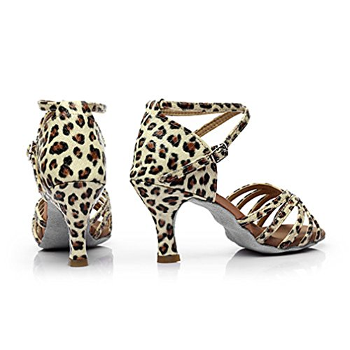 Personalizado Tacón Salsa Satén Latino Leopard Sandalia Salón Plata Desnudo Oro Hebilla Mujer Marrón Negro 40qWYxY