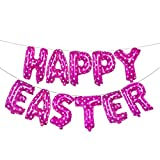 Sunyastor Happy Easter Party Suppliers, Biodegradable Latex Balloons Balloon Set Ribbon Foil Balloon Set Banner Bunting Party Decoration16 inch