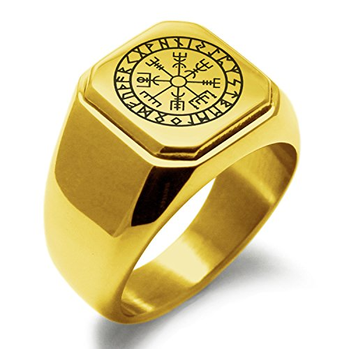 - Gold Plated Stainless Steel Icelandic Vegvisir Viking Rune Symbol Square Flat Top Biker Style Polished Ring, Size 11.5