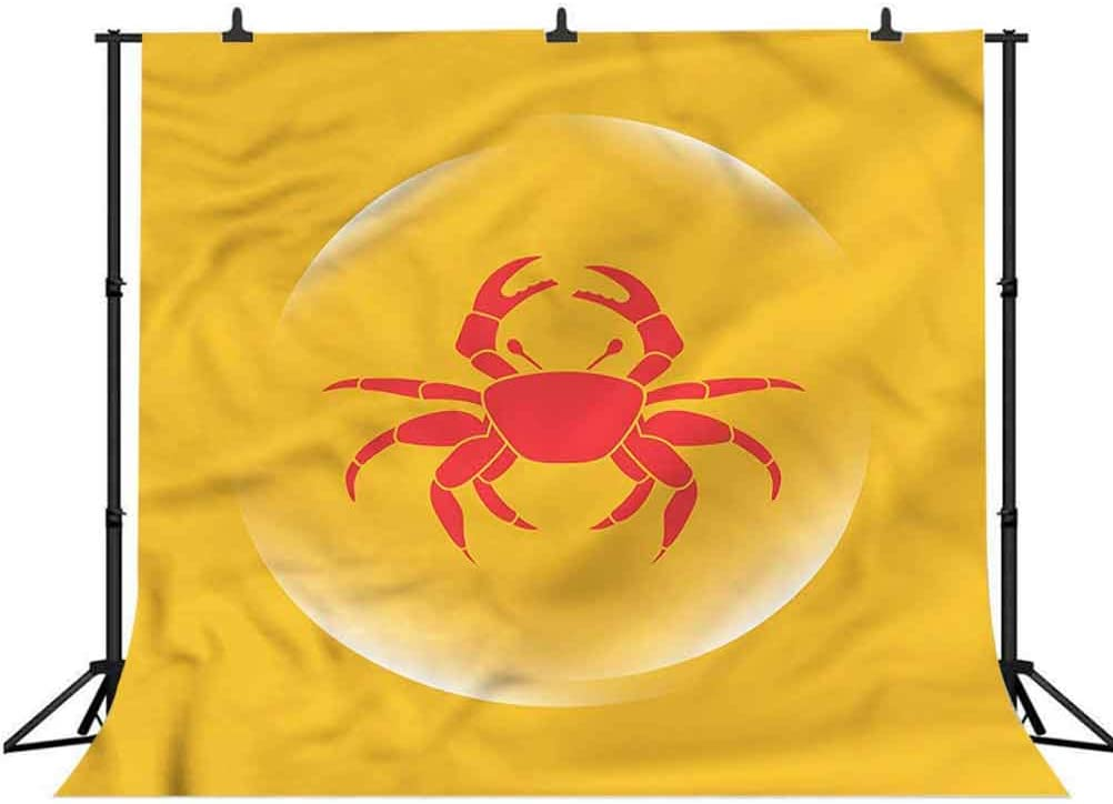 5x5FT Vinyl Photo Backdrops,Crabs,Icon in Bubble Seafood Photo Background for Photo Booth Studio Props