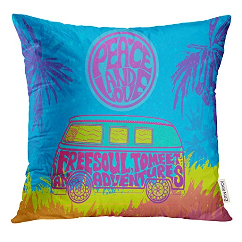 Golee Throw Pillow Cover Hippie Vintage Car Mini Van Ornamental Love and Music with Hand Written Fonts Doodle and Hippy Color Decorative Pillow Case Home Decor Square 18x18 Inches Pillowcase (Van Hippy)