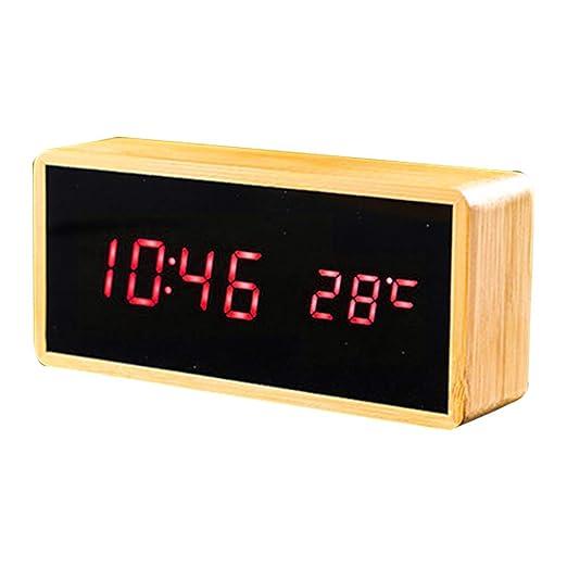 Xiton - Reloj de Mesa Digital (Vetas de Madera, Control táctil ...