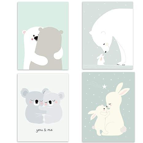 4er Set Kinderzimmer Babyzimmer Poster Bilder Din A4 | Mädchen Junge Deko |  Dekoration Kinderzimmer | Waldtiere Safari Skandinavisch 4er-3
