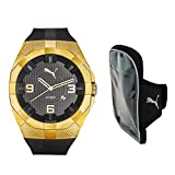 Kit de regalo Puma PU103921005.SET Iconic Reloj Análogo para Hombre, Correa de Caucho, Caja de Acero Inoxidable, color Negro