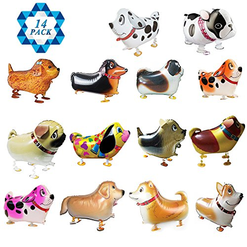 SOTOGO 14 Pieces Walking Animal Balloons Pet Dog Balloons Dog Balloon Air Walkers, Kids Gift Birthday Party Décor for $<!--$13.99-->