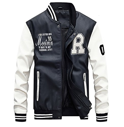 Lavnis Men's Faux Leather Jacket Casual Baseball Stand Collar Slim Fit Coat White XL ()