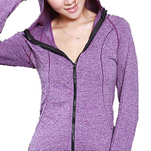 La Chaqueta Del Ms Cinta Deportes De Otoño De Yoga Con Capucha Deportiva Purple